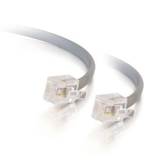 Rj11 6p4c Modular Telephone Cable - C2G/Cables to Go 09593 RJ11 6P4C Straight Modular Cable, Silver (50 Feet/15.24 Meters)