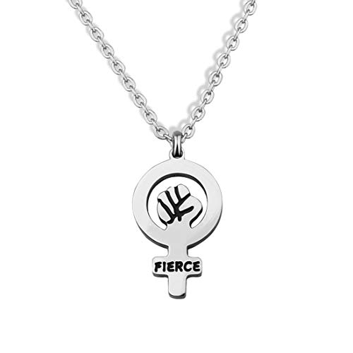 bobauna Fierce Feminist Fist Venus Symbol Pendant Necklace Women's Equal Rights Gift Feminism Jewelry (Feminist fist Necklace) for $<!--$13.73-->