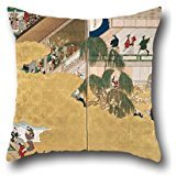Pillow Shams Of Oil Painting Hishikawa Moronobu - Scenes From The Nakamura Kabuki Theater,for Girls,outdoor,kids,deck Chair,home Office,shop 18 X 18 Inch / 45 By 45 Cm(each Side)