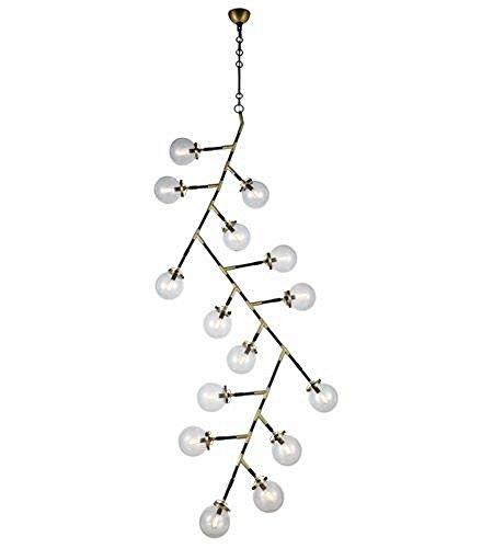 Elegant Lighting 1507G37BB Leda - Fifteen Light Adjustable Chandelier, Burnished Brass/Flat Black Finish with Clear Glass (Polished 10' Glass Brass)