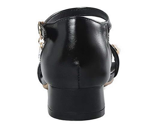 Talon Bas Noir Unie Boucle GMBLB015572 AgooLar à d'orteil Sandales Couleur Ouverture Femme ZAcxTRW7I