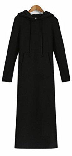 UK Fleece Sleeve Hoodie Winter today Solid Dress Fall Black Long Women Long SqZd0T