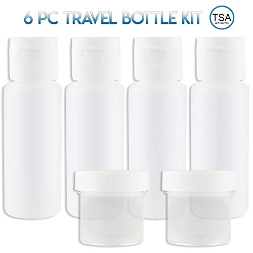 Lingito Travel Bottles Set (4 Pcs) With Cosmetic Containers (1 oz) - Portable 100% Leak Proof Refillable Toiletry Containers - Squeezable Tubes for Shampoo, Conditioner & ()