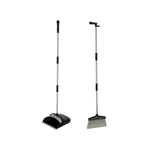 URARA Broom and Dustpan Dust Pan and Broom Combo Set/Long Handle Standing Upright Dustpan with Broom for Home Office Industry Lobby Floor Sweeping (Pan Upright Dust Broom)