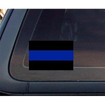 Black sticker with blue strip through middle phrase