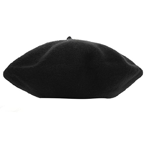 ShenPourtor_Baby Caps ShenPr Warm Kids Girls Bailey Wool Hat Dome Beret Thick Cap (Black) - Leather Dog Cap