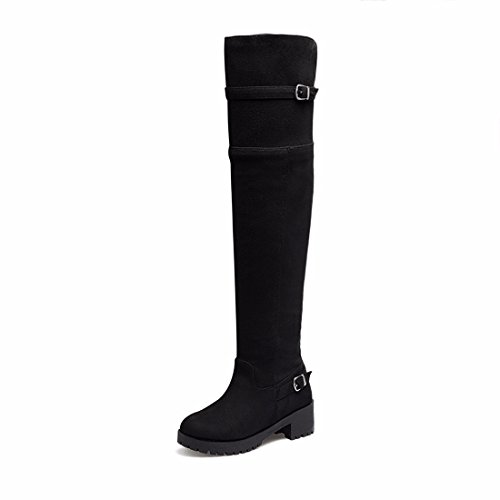 Europe and the United States Pu suede belt buckle boots knee high boots with thick bottom code Black A ((Terry)) 3F1Oy