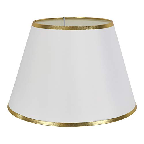 dulee Fácil mesa Leuchten lámpara de noche lámpara de mesa pantalla - Lámpara de pared (Pantallas, Weiß mit Goldrand, 16 * 26 * 17cm: Amazon.es: Hogar