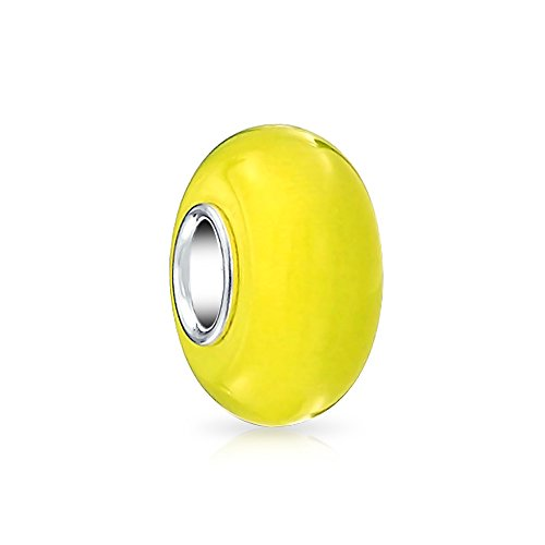 - Simple Murano Glass Solid Yellow Spacer Bead Charm For Women For Teen Fits European Bracelet 925 Sterling Silver