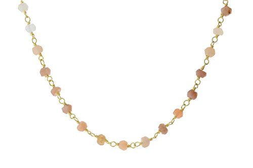 Gold-Tone Sterling Silver Wire Natural Multicolored Moonstone Gemstone Bead Chain Stone Link Handmade Rosary Bracelet Anklet 9 Inches (Multi Silver Colored Anklet)