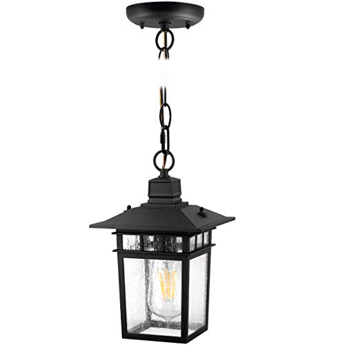 One Light Outdoor LED Hanging Lantern ,Hanging Lights for Porch, (100-150W Equivalent), 1100 Lumen, Aluminum Housing Plus Glass,Exterior Pendantt, (ST64 8W),Black for 1Pack 8244S