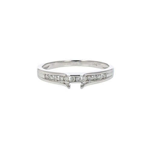 1/8 CT Diamond Semi Mount Engagement Ring 14K White Gold In Size 7