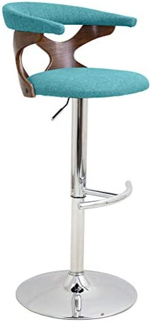 WOYBR Wood, Chrome, Polyester Fabric, Foam Gardenia Barstool, Blue