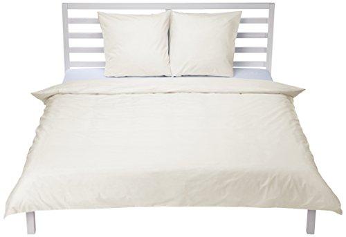 AmazonBasics 'Everyday' Bettwäscheset aus 100% Baumwolle, Elfenbein 200x200cm & 2 Kissenbezüge 65x65cm