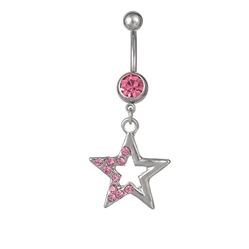 CABBE KALLO Belly Button Rings 14G Big Stars Dangle Navel Rings Stainless Steel Body Piercing Jewelry (Pink 14G=1.6mm)