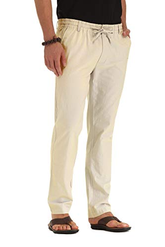 ZYFMAILY Men's Casual Linen Pant with Drawstring Beige-US 30