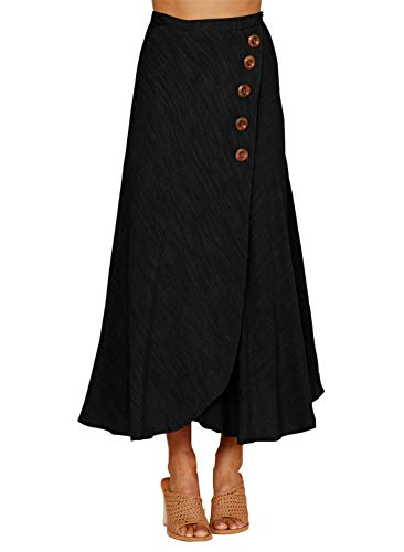 (HOTAPEI Ladies Solid Casual Wrap Button Side Split High Waist A Line Flare Long Maxi Skirts for Women Black M)