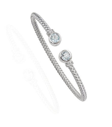 SilverLuxe Sterling Silver Weave Cuff Bracelet with Genuine Blue Topaz and Cubic -