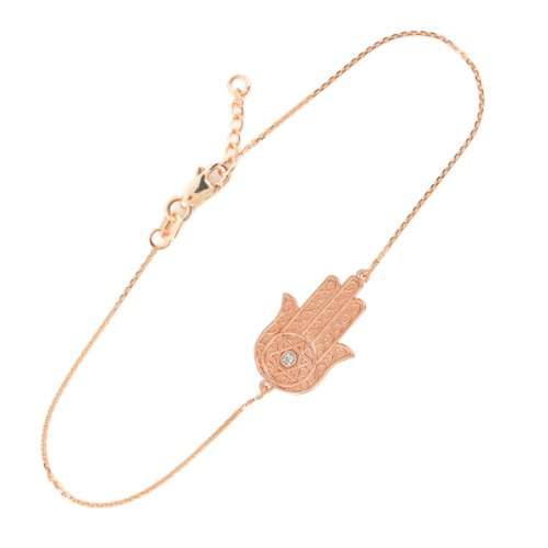 14k Rose Gold Diamond Star of David Jewish Hamsa Charm Bracelet, 7.5