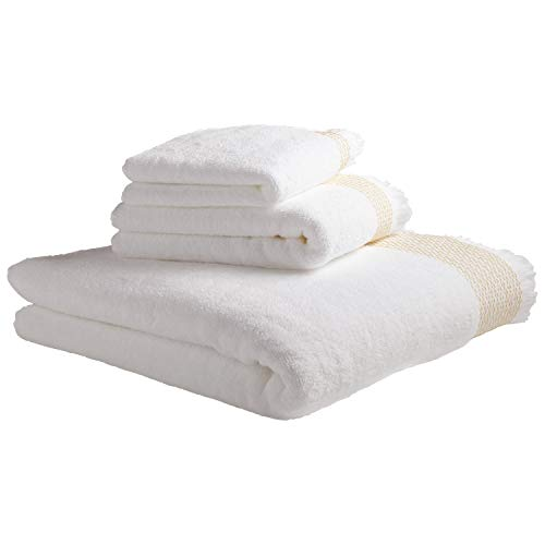 Amazon Brand – Rivet Casual Bath Towel, Hand Towel, and Washcloth Set – Set of 3 Ochre and White