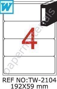 TANEX TW-2104 Etiquetas para archivadores blanco 192 x 59 mm -abgerundet- 100