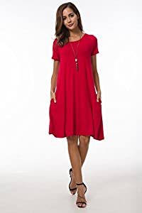 Summer Women's Plain Short Sleeve Pockets Pleated Loose Swing Casual Midi Dress Knee-Length