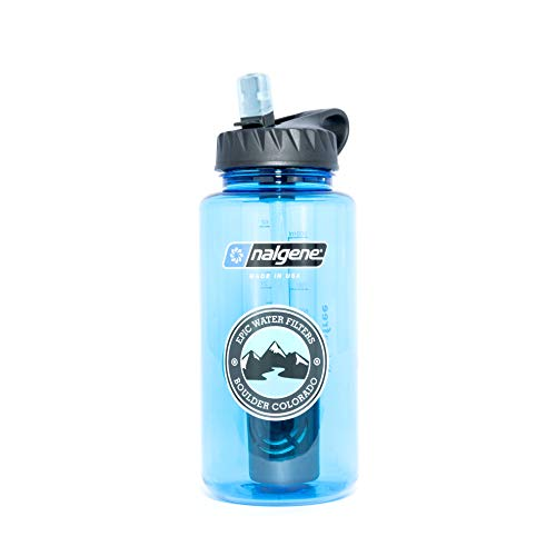Epic Nalgene OG | Water Filtration Bottle | Wide Mouth 32 oz | American Made Bottle | USA Made Filter Removes 99.99% of Tap Water Contaminants Lead Chlorine Chromium 6 - Water Tap Contaminants