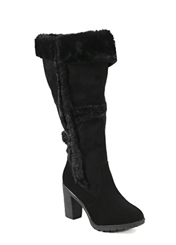 Carrini CA Collection Womens Fashion Faux Fur-Accented Zip-Up Boots, Black, Size 8.5, US (Trim Fur Suede High Heel)