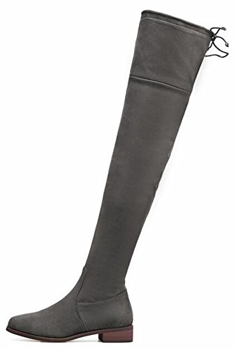 IDIFU Womens Sexy Low Chunky Heels Faux Suede Stretchy Over Knee High Boots Thigh Booties With Zipper Gray fdIevuiII