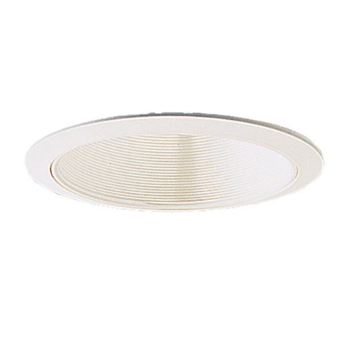 6 in. - White Stepped Baffle with Oversized Ring-PLT (7.75 Baffle Recessed Trim)