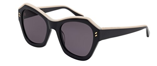 Stella McCartney Women's Top Accent Pentagon Sunglasses, Black Ivory/Grey, One - Sunglasses Stella