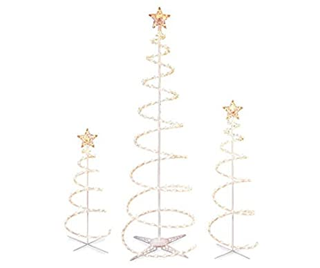 set of 3 lighted spiral christmas trees 3 ft 4 ft and 6 ft
