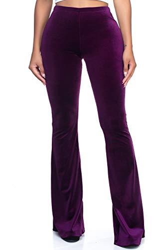 Women's J2 Love Velvet Flare Pants, Medium, Plush-Plum