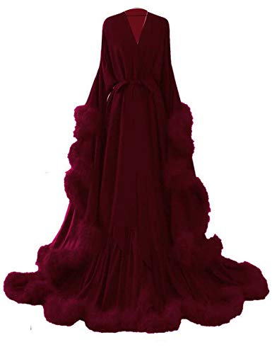 yinyyinhs Women's Sexy Feather Long Wedding Scarf Nightgown Robe Perspective Sheer Bathrobe Sleepwear Size S/M Burgundy