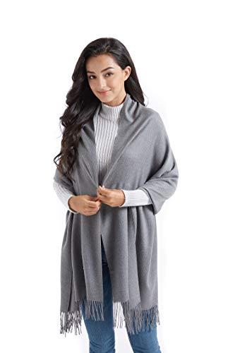 Supplim Cashmere Scarf Soft Wool Wraps Shawls Stole Winter Scaves for Men Women (Pashmina Style, Dark Grey)