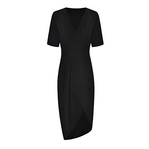 (Womens Deep V Neck Ruched Sequins Glitter Sprakling Midi High Slit Dress Party Wedding Cocktail (Black, S) )