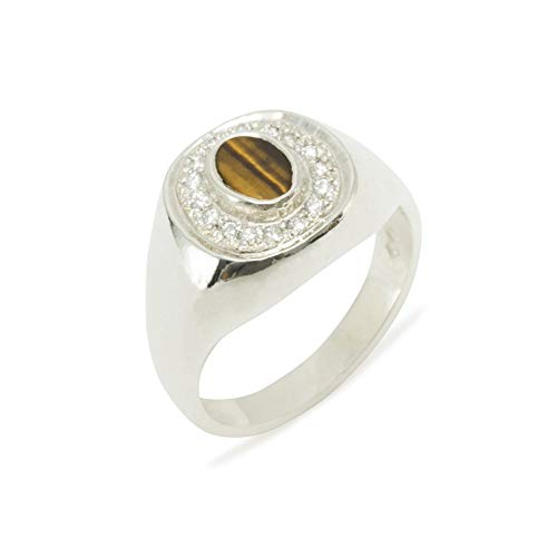(LetsBuyGold 10k White Gold Natural Tigers Eye & Cubic Zirconia Mens Signet Ring - Size 6 - Sizes 6 to 12)