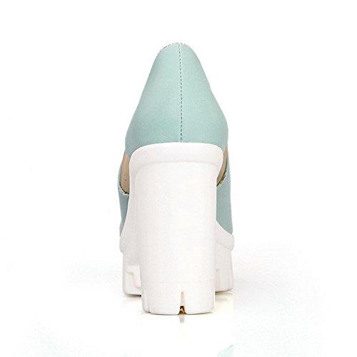 Amoonyfashion Mujer Peep-toe Tacones Altos Material Suave Solid Sandalias Pull-on Skyblue