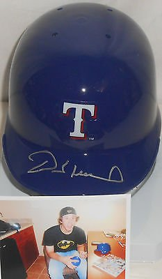 (Derek Holland Texas Rangers Autographed Signed Mini Helmet w/picture)