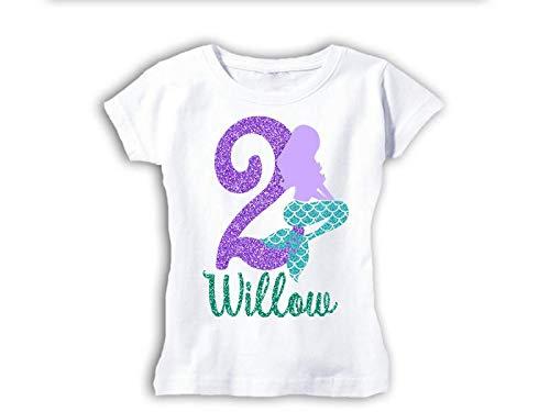 (Girls Personalized Mermaid Silhouette Birthday Shirt)