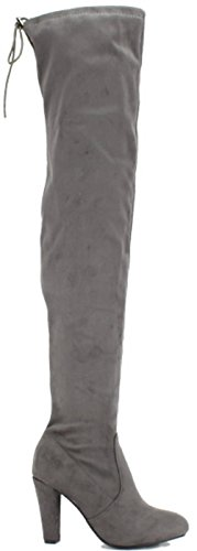 Stretch Dress Boot (Womens Thigh High Boots Over The Knee Party Stretch Block Mid Cupped Heel Dress Boots Grey 8)