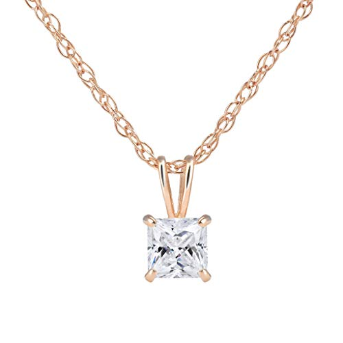 (SOLIDGOLD - 14K Gold Pendant with CZ Square Solitaire Stud & Adjustable Chain Size 4mm in Rose Gold)