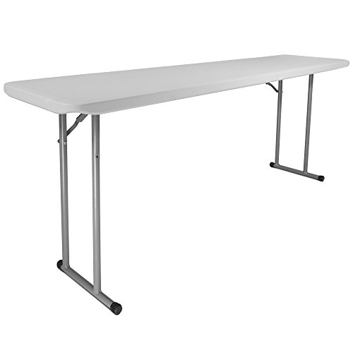 Titan 18''x72'' Plastic Seminar Table Speckled White Solid w/ Folding Legs Indoor by Titan Attachments