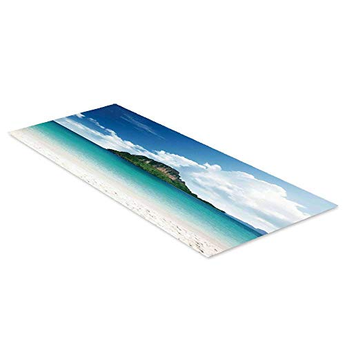 (C COABALLA Ocean Island Decor Waterproof Floor Sticker,Poda Island in Thailand South Asian Tropic Paradise Hot Sun with Clouds Photo for Kitchen Living Room,47.2