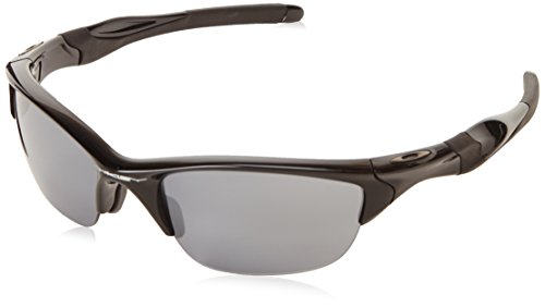 Oakley Men's Non-Polarized Half Jacket 2.0 Oval Sunglasses,Polished Black Frame/Black Iridium Lens, 62 mm