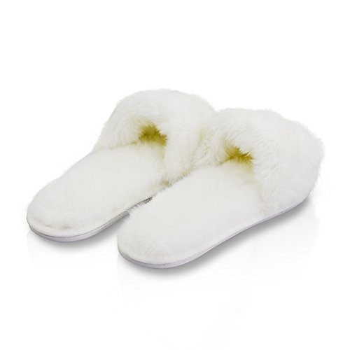 Flat Plush Women's Winter Slippers White Soft PLAGE Warm Indoor LA wRHxq0Ft