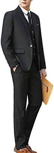 [YFFUSHI] スーツ メンス スリーピース スリム 1つボタン 無地 フォマール 礼服