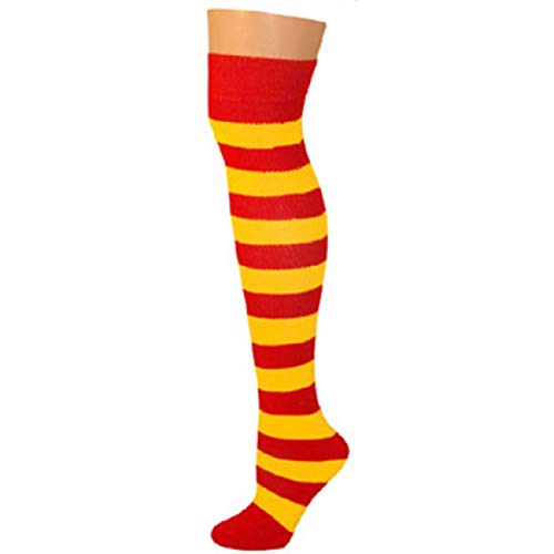 AJs Knee High Striped Socks - Red/Gold]()