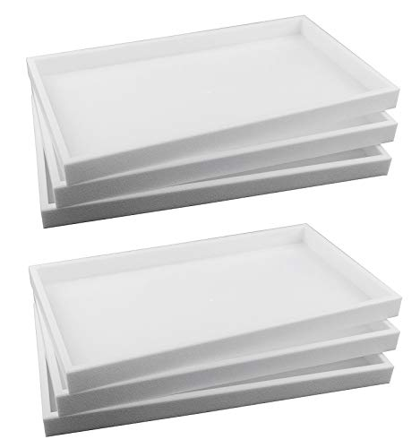 (888 Display USA 6-Piece 1-Inch Deep White Full Size Plastic Stackable Jewelry Tray 14 3/4 X 8 1/4 X 1H)
