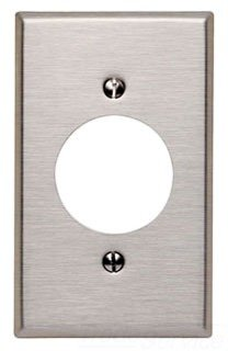 Leviton 84020-40 1-Gang Locking 1.60 Inch Dia. Device Receptacle Wallplate, Standard Size, Device Mount, Stainless Steel, 10-Pack